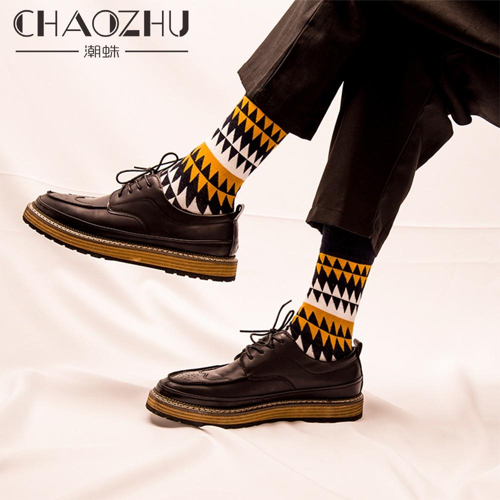 CHAOZHU Fashion Men's Socks Autumn Winter Casual Cotton Crew Socks Men Happy Socks Dots/Stripes Daily Deodorant Socks/Calcetines