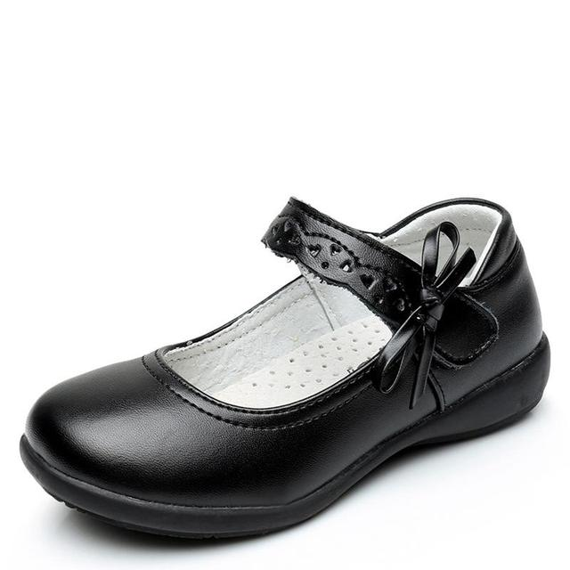 New Girls Princess Leather Shoes For Black Kids Dress Shoes School Flat Shoes Breathable For Princess Student Party Dancing