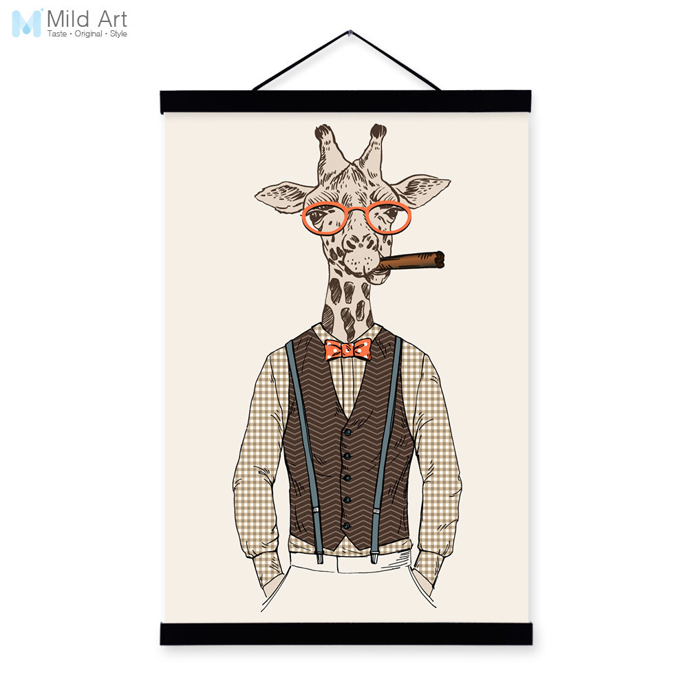 Giraffe Modern Fashion Gentleman Animals Portrait <font><b>Hipster</b></font> Framed Canvas Painting Wall Art Print Picture Poster Scroll <font><b>Home</b></font> <font><b>Decor</b></font>