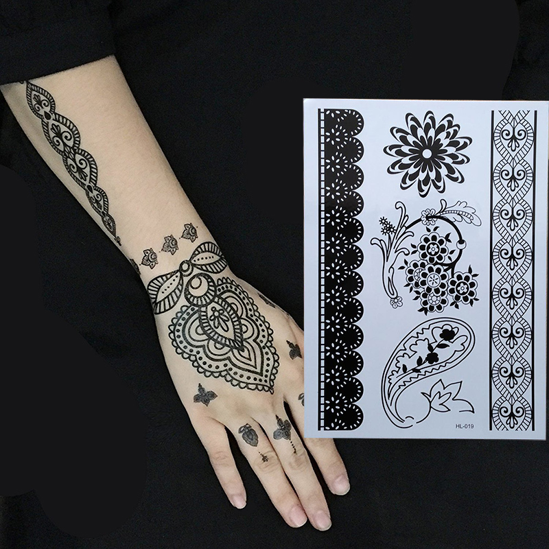 Henna Style Tattoos Lace Tattoo: 1 Piece Black Henna Temporary Tattoo For Lace Hands