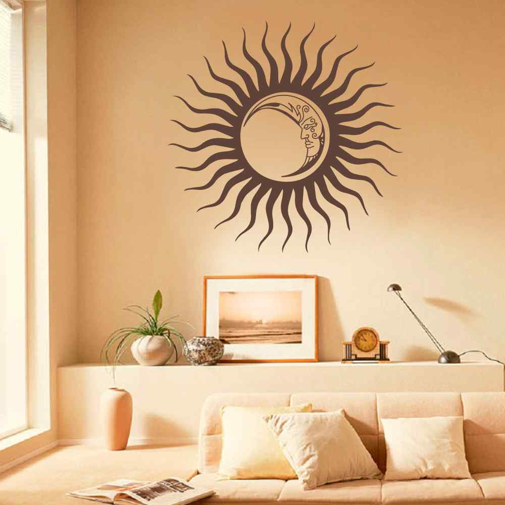ᗛCrescent Sun Moon Wall Decal Sticker Ethnic Dual Night Symbol Sun ...