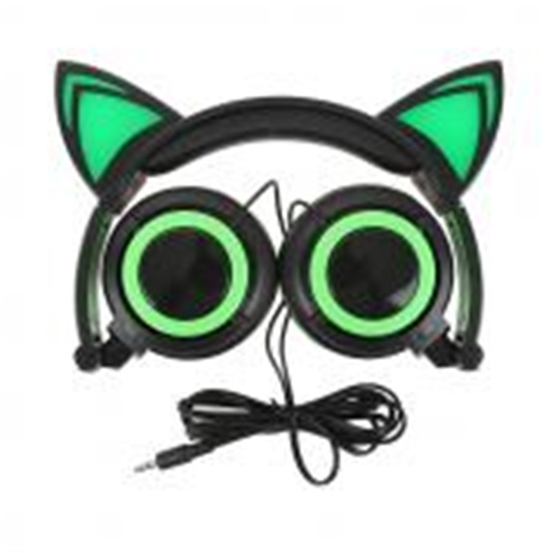 Foldable Flashing Glowing cat ear headphones Gaming Headset Earphone with LED light For PC Laptop Computer Mobile Phone NEW 2017 teamyo newest flashing glowing led cat ear headphones for kids children headsets for mobile phone pc laptop computer