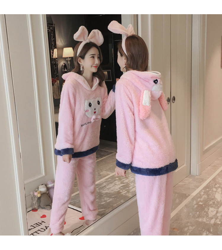Winter Women Pajama Flannel Sleepwear Long Sleeves Hot Pajamas For Women Velvet Pajama Women Soft Clothing 93