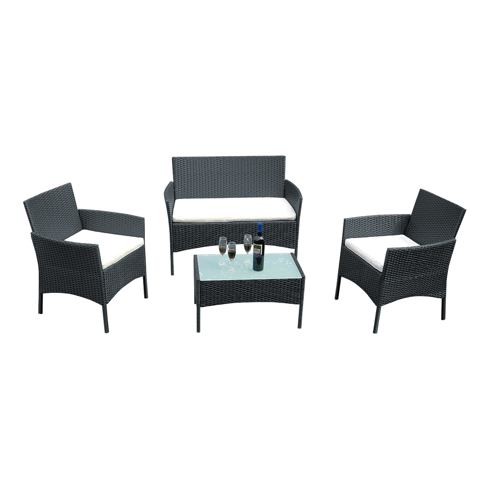 Panana Rattan Sofa Chair Table Set Of 4 Hot Sale Wicker Garden Furniture Coffee Table Rattan Sofa Chair Spain Warehouse Stock