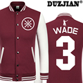 DUZJIAN Spring new Bull Dwyane Wade casual jacket cheap men winter jackets male coat boys jacket hip hop youth jackets