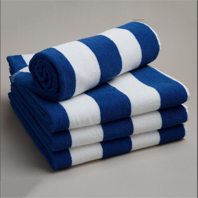 Mediterranean Style Navy Blue And White Stripe Towel Cotton Blue And White  Striped Cotton Beach Towels