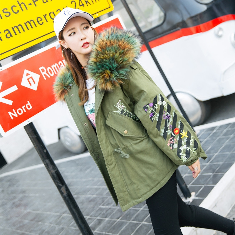 Winter Fur Collar Hooded Coat Women Striped Embroidered Floral Cotton Padded Female Students Loose Warm Overcoat High Quality women winter coat leisure big yards hooded fur collar jacket thick warm cotton parkas new style female students overcoat ok238