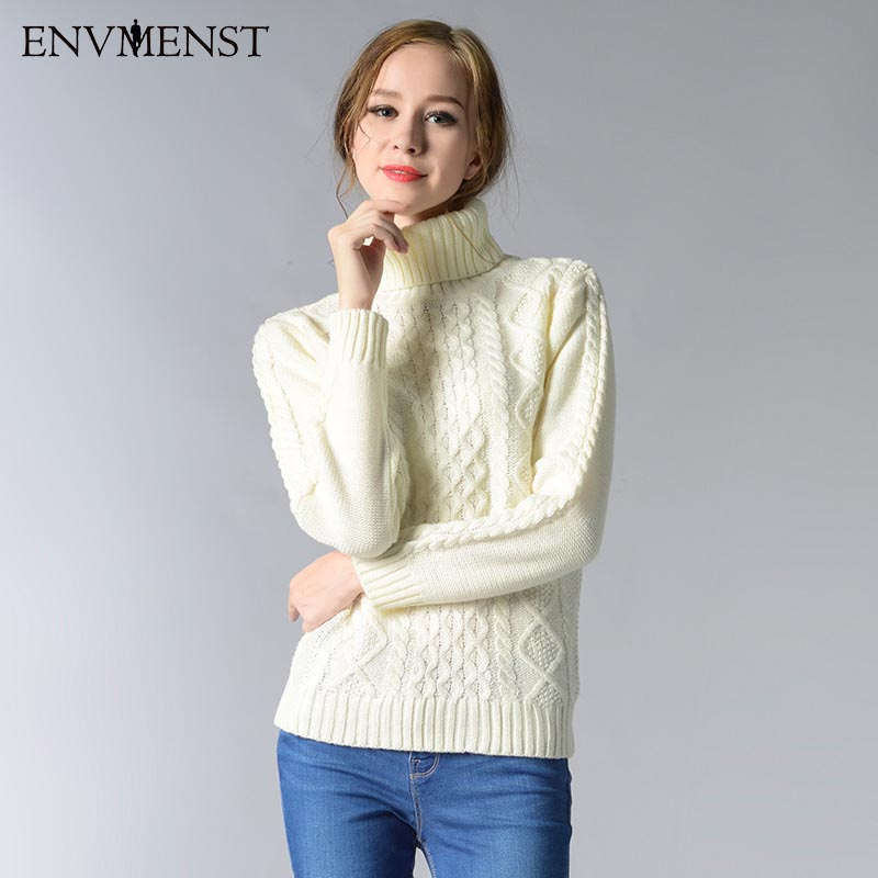 Autumn winter 2017 Simplee Turtleneck knitted pullover sweater Women cable knitting soft pull femme warm knitting sweater