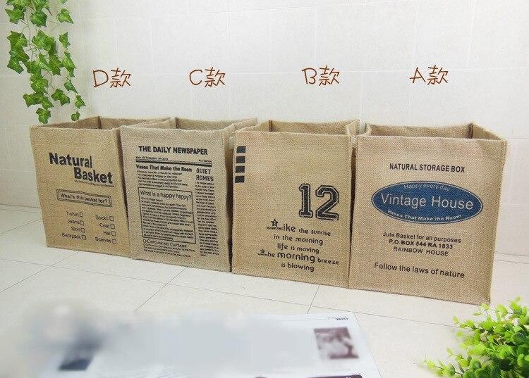 32X25.5X25.5CM Creative folded cotton finishing debris storage box / storage bag clothing linen cotton basket classification bag
