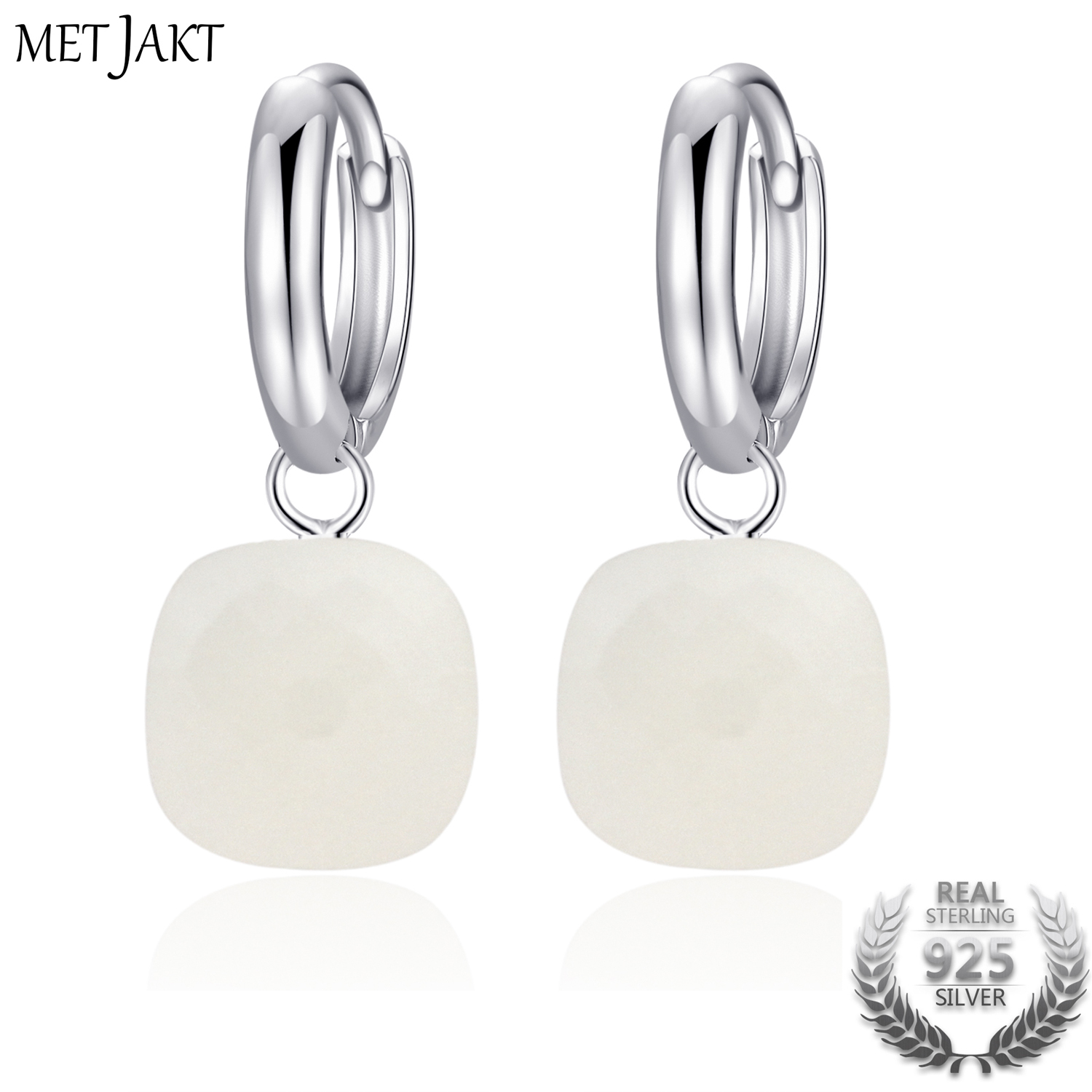MetJakt Fashion Natural White Agate Drop Earrings Solid 925 Sterling Silver Earring for Ladies Occasions Vintage