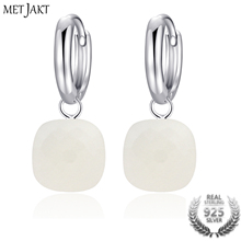 MetJakt Fashion Natural White Agate Drop Earrings Solid 925 Sterling Silver Earring for Ladies Occasions Vintage Luxury Jewelry