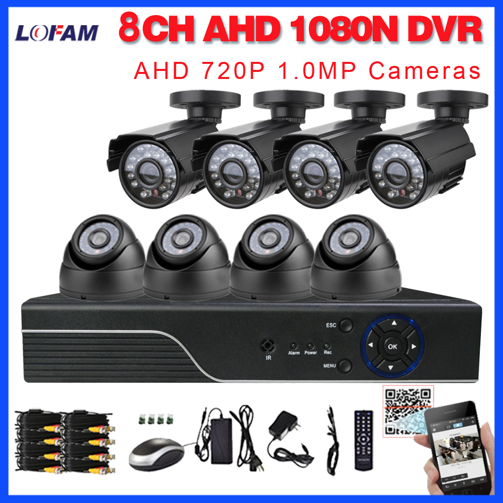 LOFAM 8CH 1080N HDMI DVR 1MP 720P HD Outdoor Indoor video Security Camera System 8 Channel AHD CCTV System DVR Kit 8 CH Set
