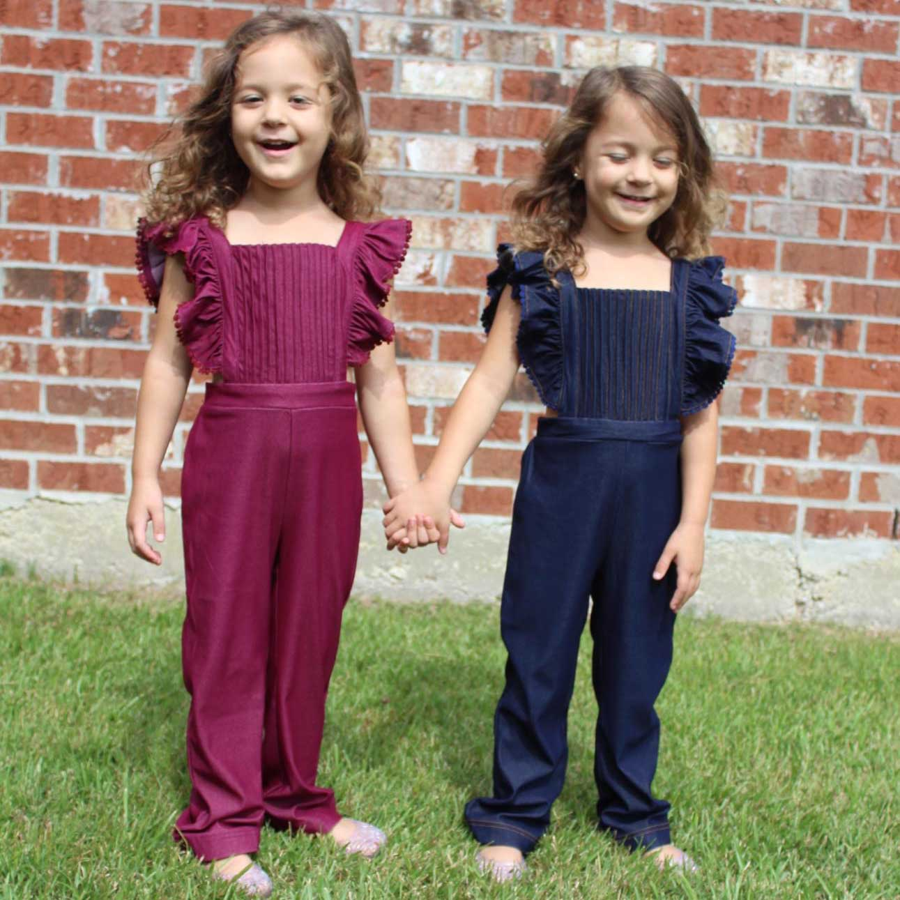 a2754736b Baby Girls Jumpsuit Romper Outfit Spring Fall Girl Playsuit Toddler Big  Girl Pleated Romper Children Clothes Kids Denim Overalls-in Overalls from  Mother ...