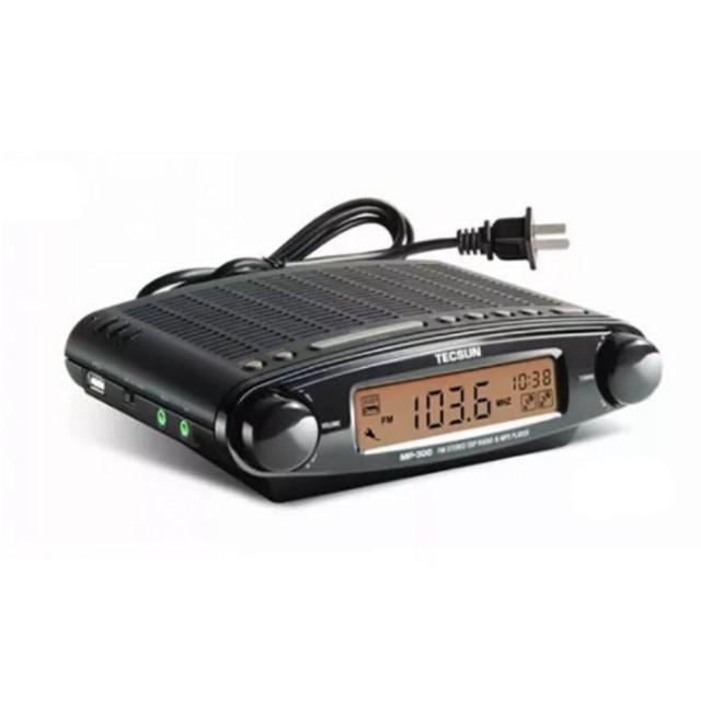 Original de Rádio TECSUN MP-300 FM DSP Estéreo Rádio USB MP3 Player Alarme Desktop Clock ATS Rádio Portátil Receptor DIsplay LED ^