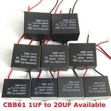 2 шт. CBB61 2 мкФ/1 мкФ/1,2 мкФ/1,5 мкФ/2,5 мкФ/3 мкФ/3,5 мкФ/4 мкФ конденсатор с алюминиевой крышкой, 2 мкФ 450V cbb61 конденсатор вентилятора CBB 450VAC постоянной ёмкости, универсальный конденсатор 4,5/5 6/7/8/10/