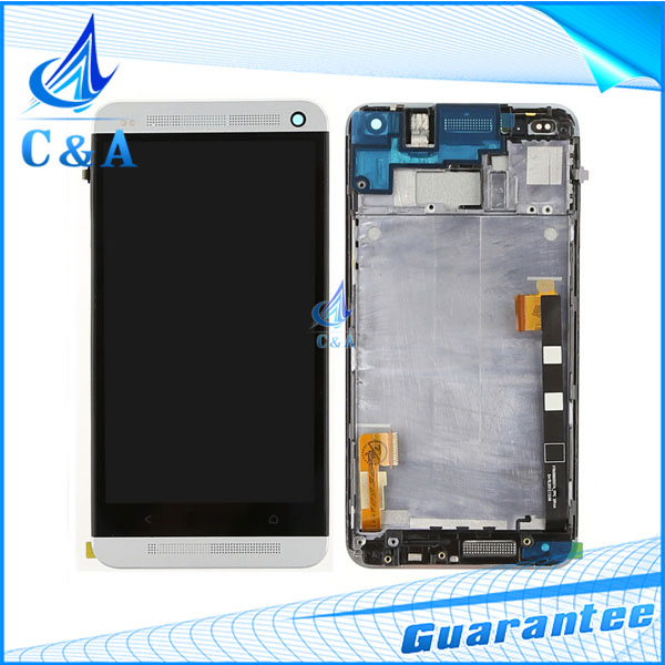 10 pcs DHL/EMS post black tested new replacement repair parts for HTC one m7 801e lcd display+touch screen digitizer with frame