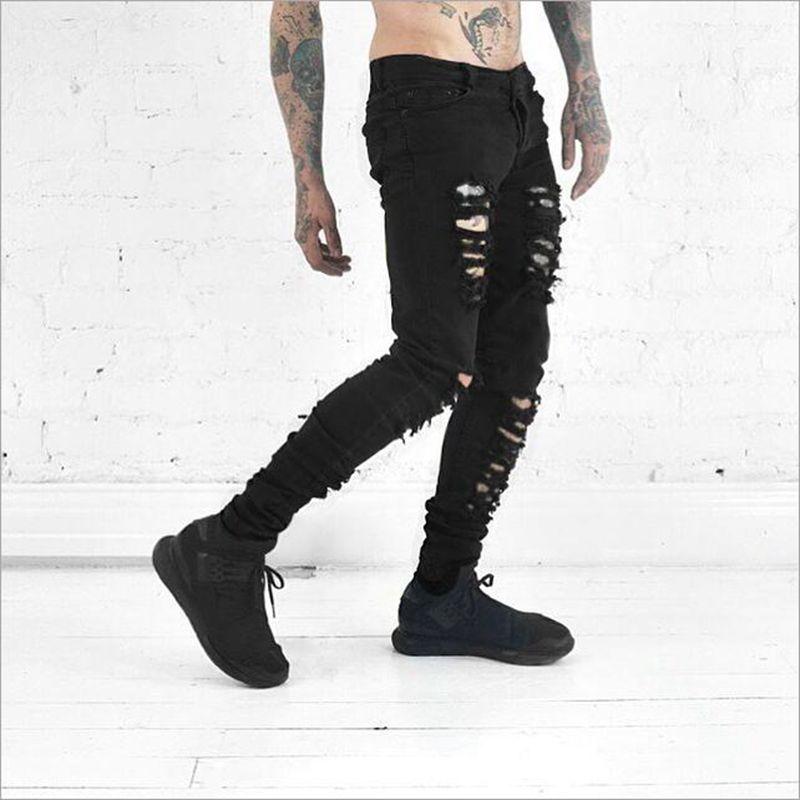 Wild Black Jeans Men Personality Ripped Skinny Jeans Fashion Punk Rock Mid Waist Trousers Hi Street Hip Hop Jeans