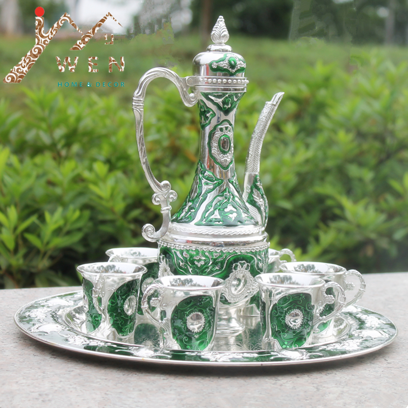 Free shipping silver finish with green color metal wine set tea set fashion zinc alloy wine