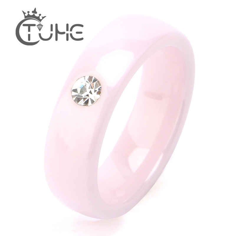 2019 Pink Ceramic Rings For Women Rings Made Of Ceramics Bling CZ Stone Ceramic Wedding Rings Costume jewelry Wholesale