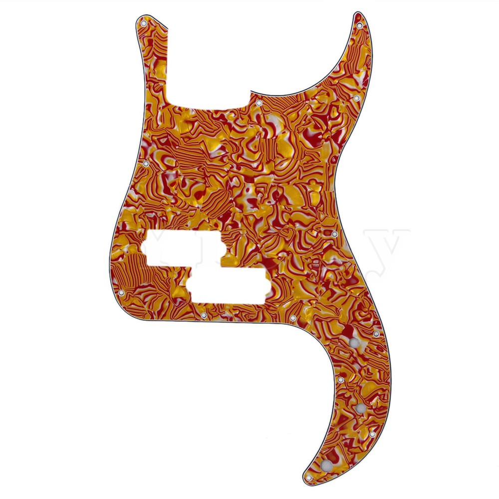 Yibuy PB Electric Bass Parts Red Shell P Bass Pickguard Scratch Plate 3 Ply