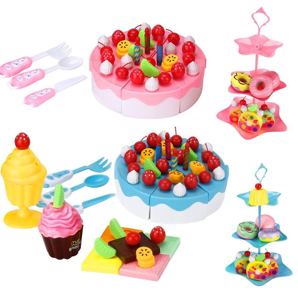 Lovely 86PC/1Set Cutting Fruit Cake Pretend Play Children Kid Educational Toy Kitchen Pretend Toys birthday cake kitchen food