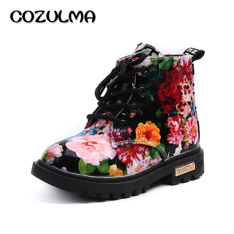 COZULMA Boys Girls Boots Elegant Floral Flower Print Sneakers Kids Shoes Boots Baby Toddler Martin Boots Leather Children Boots