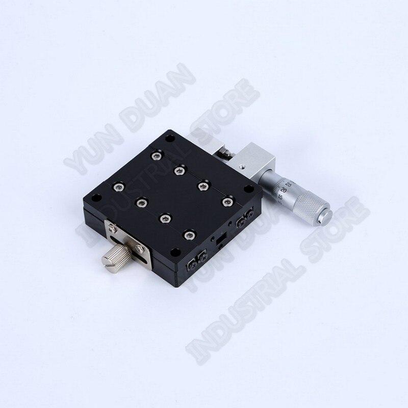 70*70mm X Eksen Manuel Mikrometre Sürgülü Masa Yer Değiştirme Kırpma Platformu Çapraz Makaralı Kılavuz Yolu doğrusal sahne Yüksek Hassasiyetli