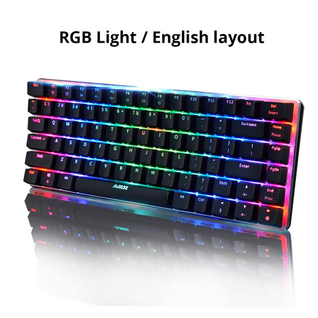 Ajazz AK33 82 keys mechanical keyboard Russian / English layout gaming keyboard RGB backlight blue / black switch wired keyboard