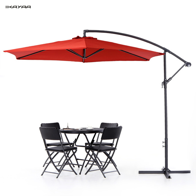 IKayaa 3M Adjustable Patio Garden Hanging Umbrella With Crank Cross Base  Wind Vent Sun Shade Outdoor
