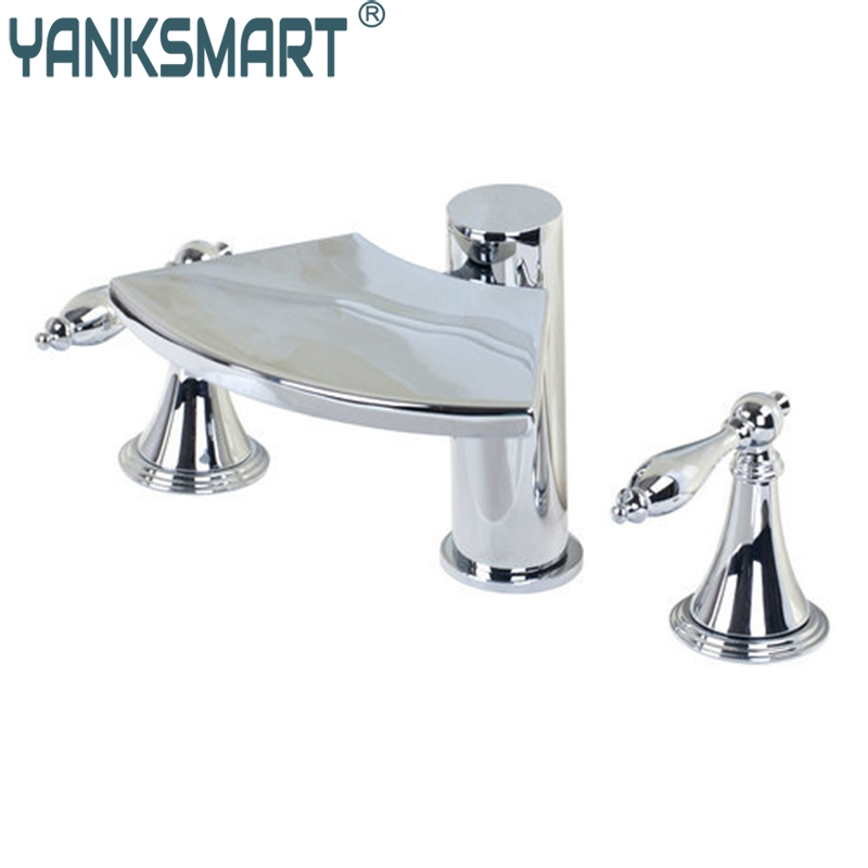 YANKSMART 32H Waterfall Spout 3 Pieces Double Handles Chrome Deck Mount Shower Bathroom Wash Basin Sink Bathtub Torneira Faucet yanksmart bath