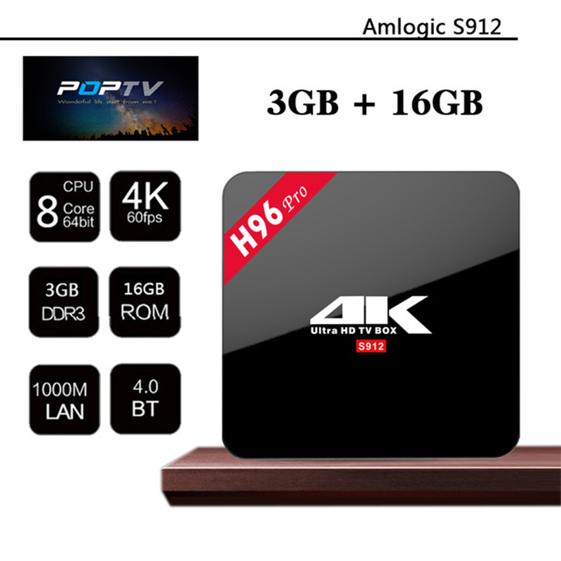 Newest H96 Pro Android TV Box Amlogic S912 Octa Core CPU 3G 16G Android 6 0