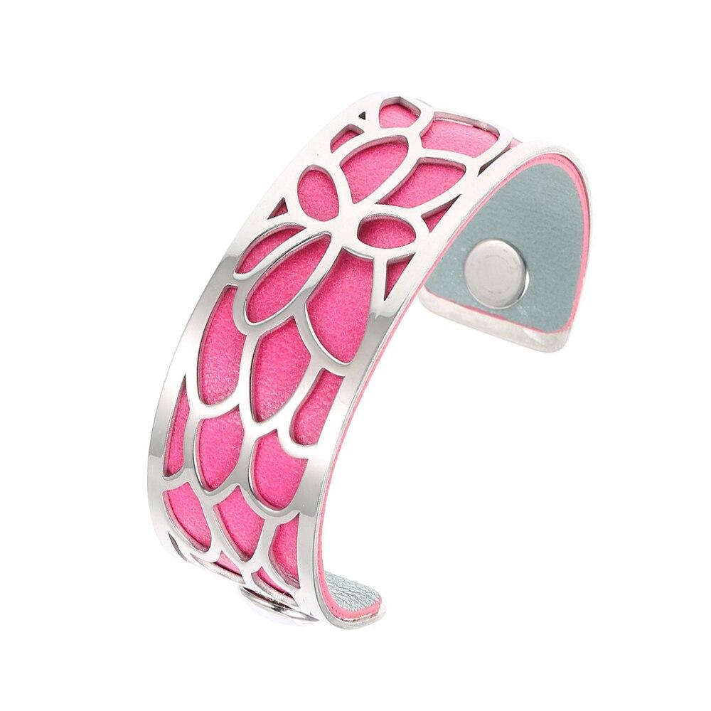 Legenstar Cuff Bracelets&Bangles for Women 25 mm Lotus Stainless Steel Reversible PU Leather Bracelet Interchangeable Jewelry