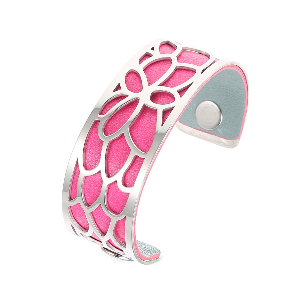 Legenstar Manschette Armbänder & Armreifen für Frauen 25mm Lotus Edelstahl Reversible PU Leder Armband Austauschbare Schmuck
