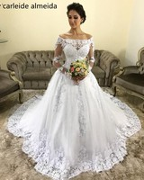 Vestido de Noiva Long Sleeves Ball Gown Wedding Dresses Boat Neck Robe de mariee Chapel Train Luxury Wedding Gowns Bride Dress