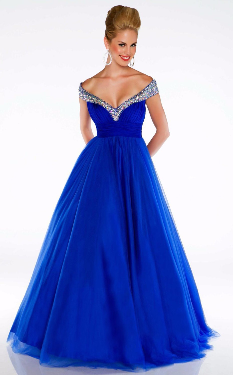 New-Arrival-2014-Sexy-Royal-Blue-Red-White-V-neck-A-Line-Modest-Evening-Pageant-Dresses