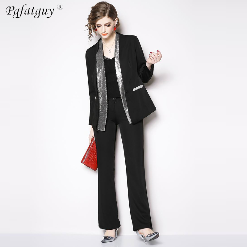 Blazer Suit Set for Women Black Sequin Beading long Sleeve