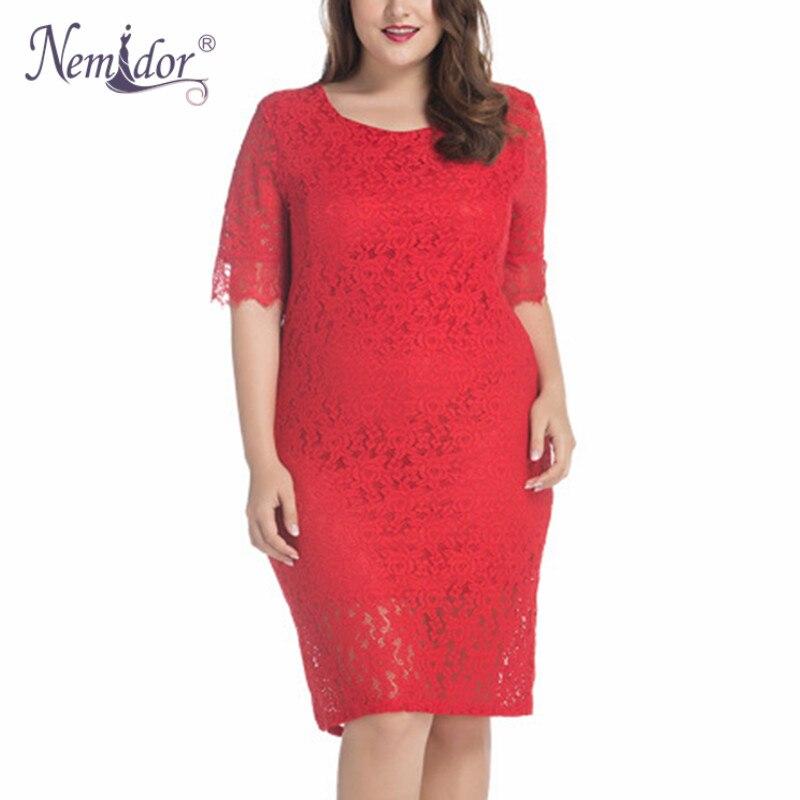 Nemidor 2019 Hot Sales Women Elegant Half Sleeve Midi Plus Size Dress Vintage Square Collar Sexy Bodycon Party Lace Dress