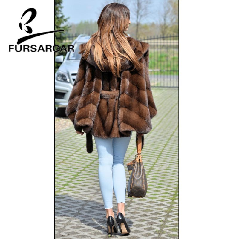 Image 4 - FURSARCAR Women Real Fur Coat New Fashion Bat Sleeved Thick Warm Mink Fur Coat With Hood Winter Luxury Female Nature Fur Jacket-in Real Fur from Women's Clothing