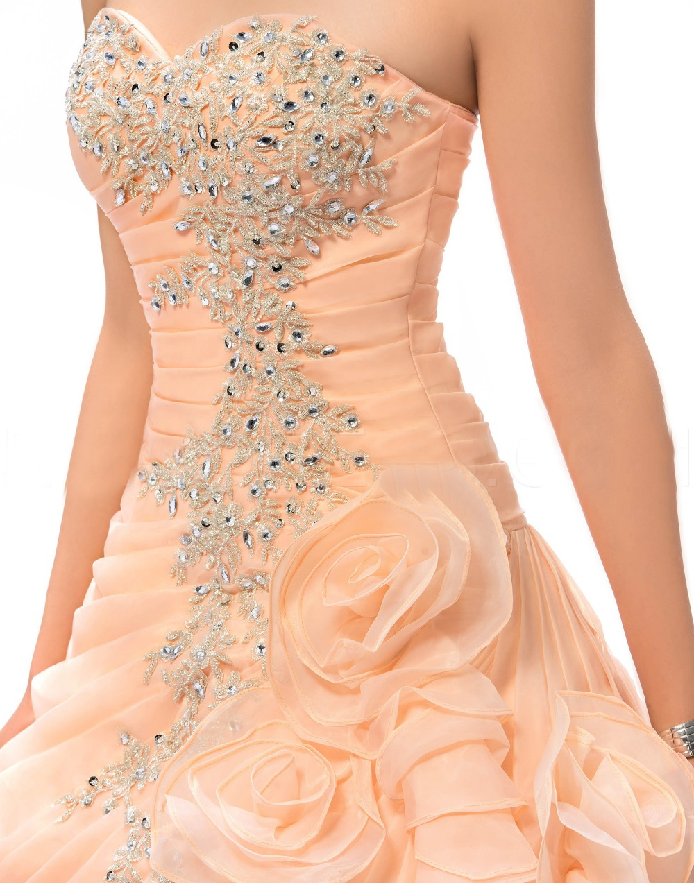 peach quinceanera dresses sweet 16 princess dresses crystal vestidos de debutante 15 anos organza party ball gowns YK_028 in Quinceanera Dresses from Weddings Events
