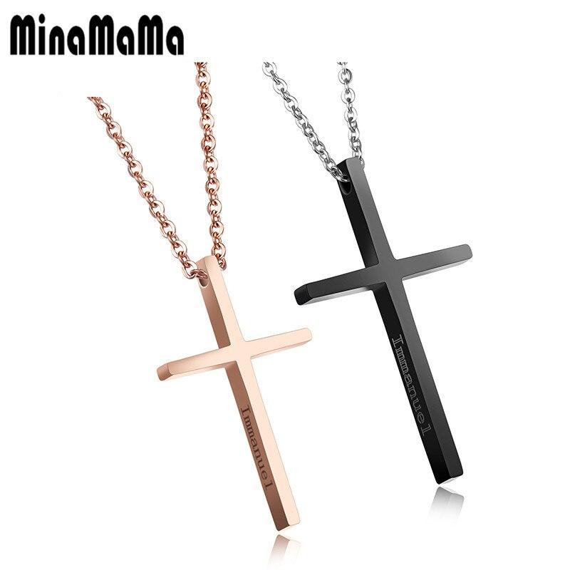 ▽Moda negro/Rosa oro color Jesús Cruz Collares y colgantes para los ...