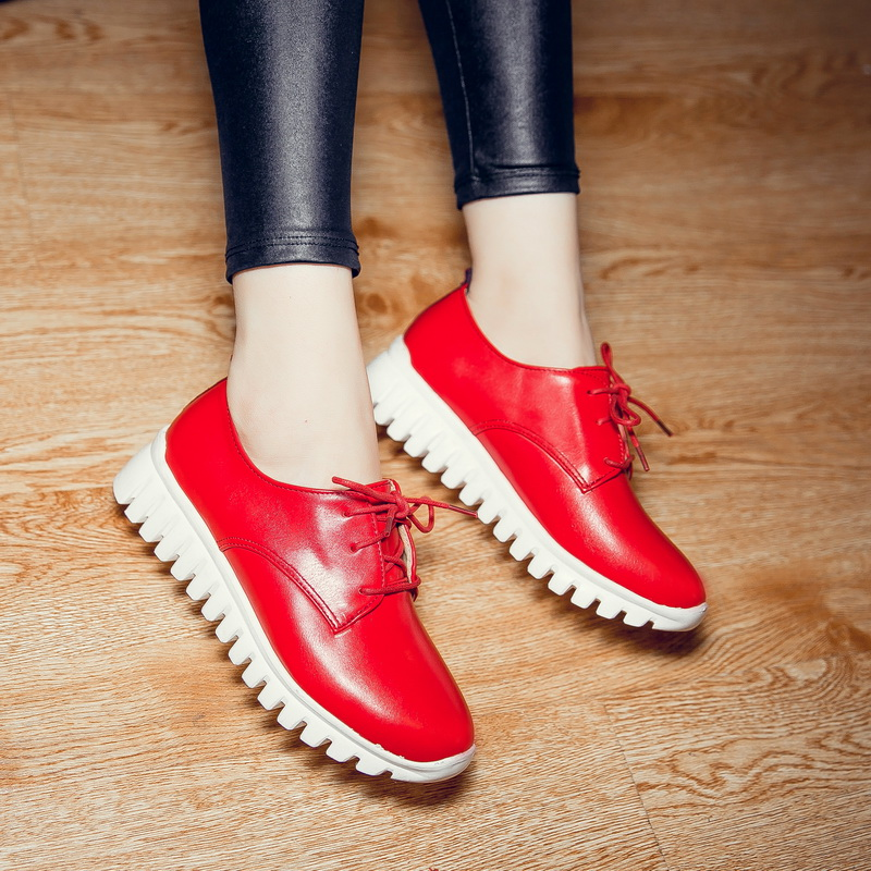 Hot Sale Plus big and small size 29-46  Womens  Round Toe Patent Leather Spring Autumn Shoes  Lace up Casual shoes 8086 brand new hot sale blue red yellow black green glossy patent leather women nude flats ladies shoes av123 plus big size 49 10 13