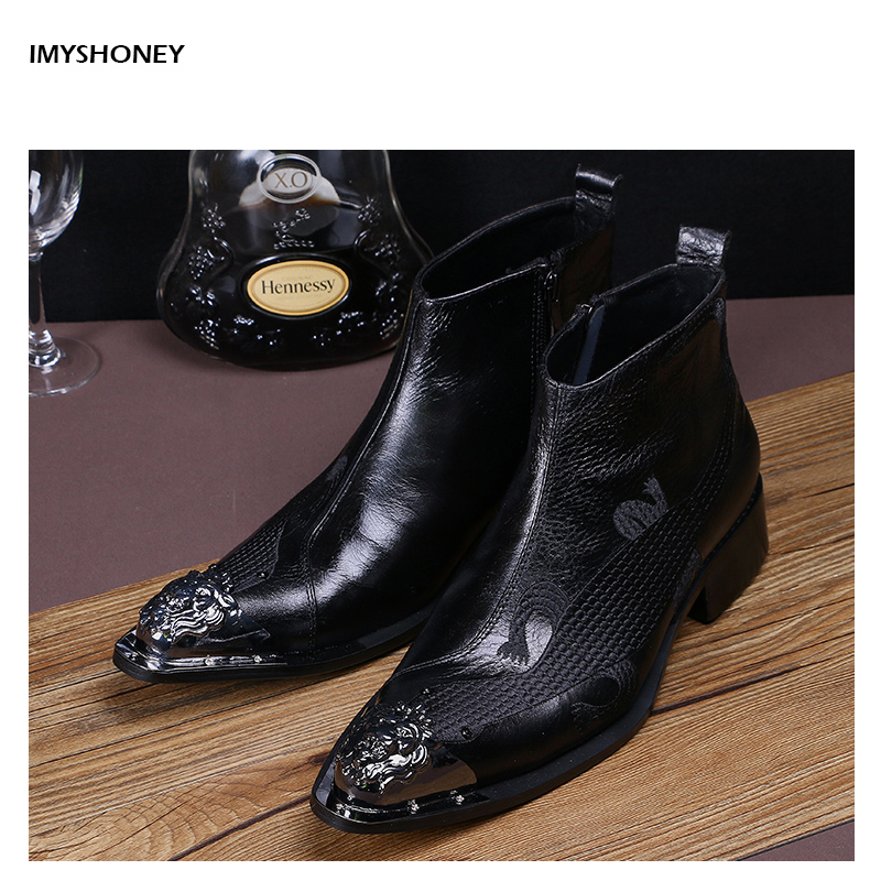 Pointed Toe Genuine Leather Ankle Boots Men Casual Black High Top Career Work Boots  Luxury Shoes  Animal Pattern Embroidery new lace up ankle men fashion boots casual high top office dress shoes pointed toe work safety boots genuine leather short shoes
