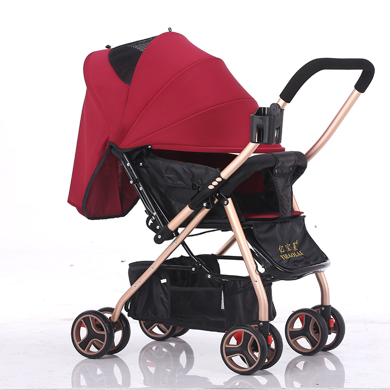 Newborn baby stroller can sit can lying trolley ultra-light can be folded baby carriage two-way push umbrella carts