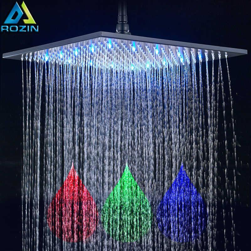 أسود البرونزية 16 بوصة الأمطار دش رئيس مربع حنفية الدش بمصباح ليد رئيس 40 سنتيمتر النحاس الأمطار دش رئيس