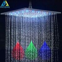 Black Bronze 16 inch Rainfall shower head square led light shower faucet head 40cm Brass Rainfall Shower Head
