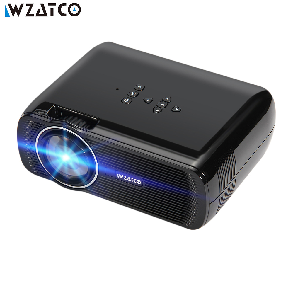 WZATCO Projector CTL80 1800lu Portable Mini Full HD 1080P LED 3D Projector Android 6.0 Wifi Smart Home Theater Beamer Proyector portable mini projector home cinema digital smart led projectors support 1080p movie pc video game can use mobile power supply