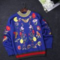 2016 Blue/Black Birds Flowers Butterfly Embroidery Autumn Women's Sweaters Brand Same Style Pullovers 91604