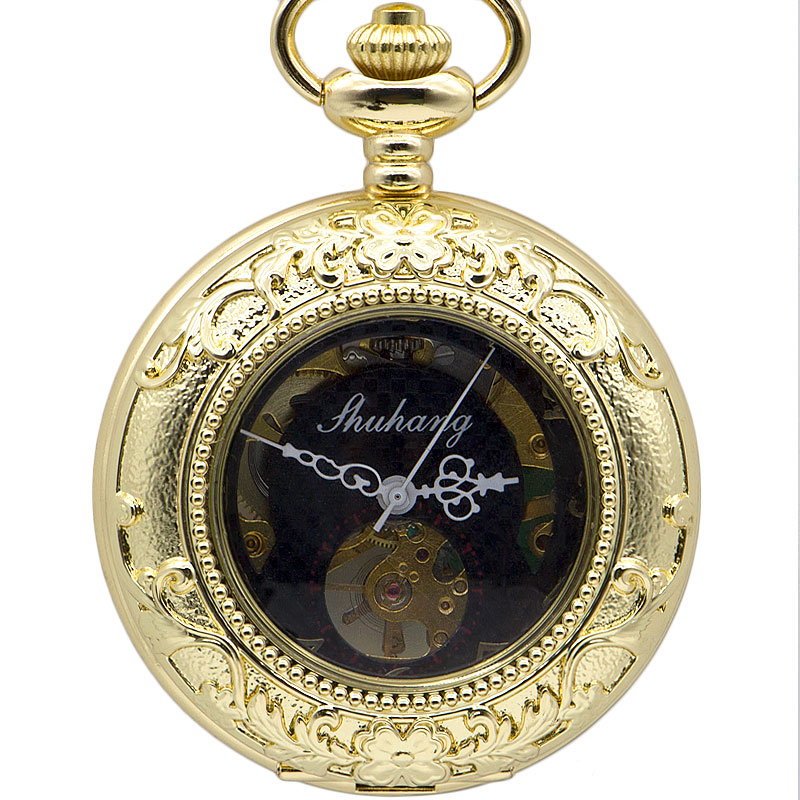 Luxury Whole Gold Flower Carving Design With Roman Number Dial Skeleton Mechanical Necklace Pocket Watch For Men Women Gifts