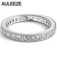Ajuste de canal brillante redondo corte diamante eternidad boda bandas sólidas 14K oro blanco migrano borde anillos de compromiso para las mujeres