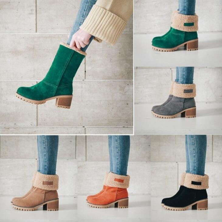 Invierno mujeres nieve botas cuadrados tacones ladies chaussure zapatos de piel caliente mujer zapatos mujer sapato mitad de la pantorrilla botines XZ180051
